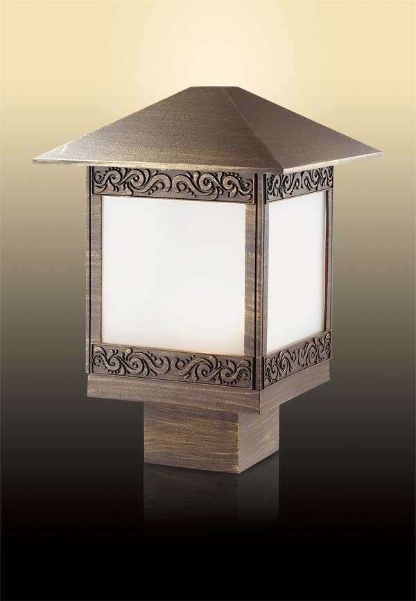 Садово-парковый светильник Odeon Light Novara 2644/1B, IP44, 1xE27x60W, коричневый с золотой патиной, белый, металл, стекло - фото 1