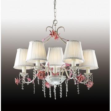 Подвесная люстра Odeon Light Padma 2685/6, 6xE14x60W, белый, прозрачный, розовый, керамика, металл, текстиль, хрусталь