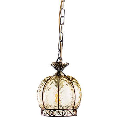 Подвесной светильник Arte Lamp A2106SP-1AB Venezia, античная бронза, янтарный прозрачный