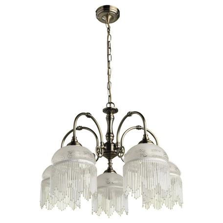 Arte Lamp Victoriana A3191LM-5AB, 5xE27x60W, бронза, белый, прозрачный, металл, стекло