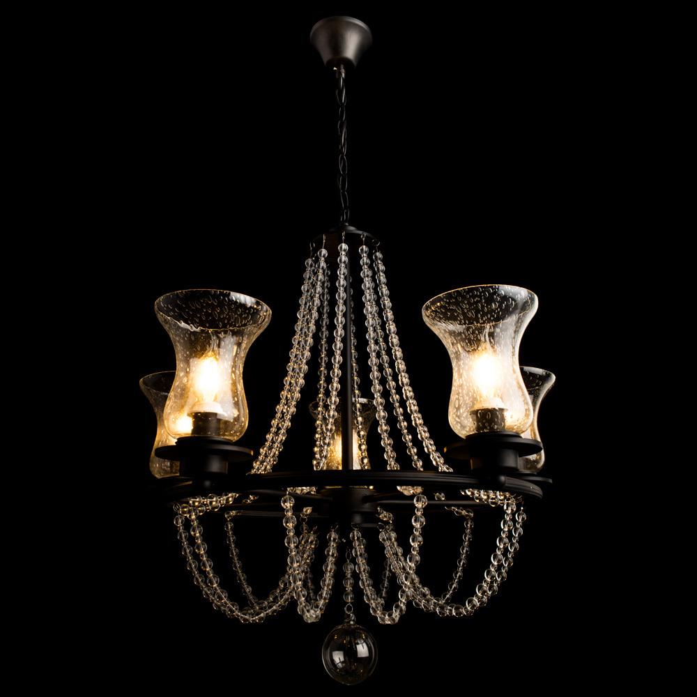 Arte Lamp Malia A6586LM-5BK, 5xE14x40W, черный, прозрачный, металл, стекло - фото 2