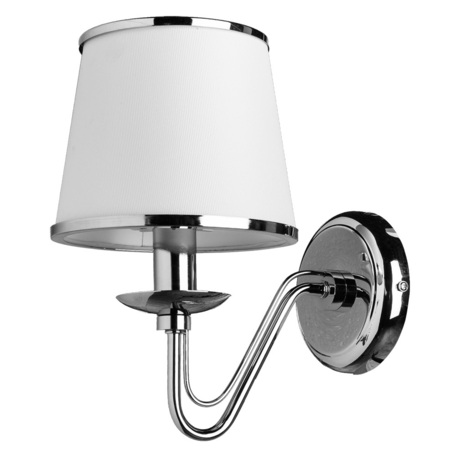 Бра Arte Lamp Aurora A1150AP-1CC, 1xE14x60W, хром, белый с хромом, металл, текстиль