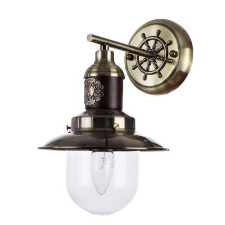 Бра Arte Lamp Sailor A4524AP-1AB, 1xE27x60W, бронза, коричневый, прозрачный, металл, дерево, металл со стеклом