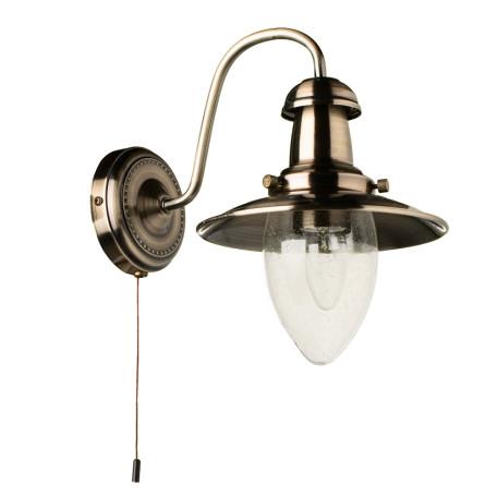 Бра Arte Lamp Fisherman A5518AP-1AB, 1xE27x60W, бронза, прозрачный, металл, металл со стеклом