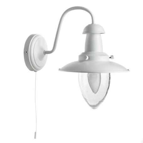 Бра Arte Lamp Fisherman A5518AP-1WH, 1xE27x60W, белый, прозрачный, металл, металл со стеклом