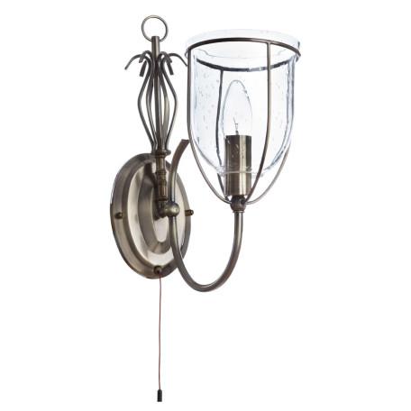 Бра Arte Lamp Salvador A6351AP-1AB, 1xE14x60W, бронза, прозрачный, металл, ковка, металл со стеклом