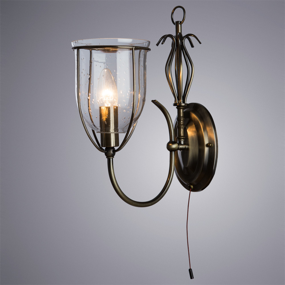 Бра Arte Lamp Salvador A6351AP-1AB, 1xE14x60W, бронза, прозрачный, металл, ковка, металл со стеклом - фото 2