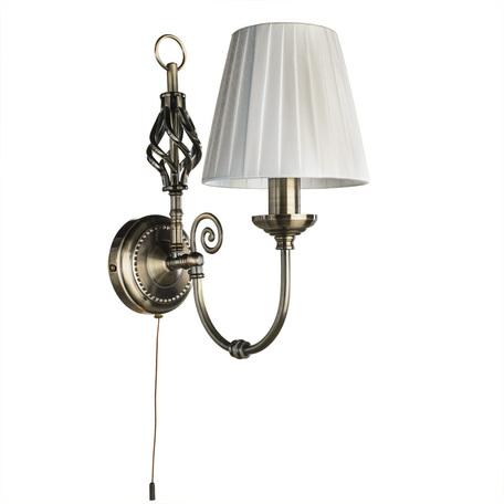 Бра Arte Lamp Zanzibar A8390AP-1AB, 1xE14x40W, бронза, белый, металл, текстиль