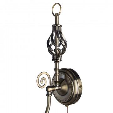 Бра Arte Lamp Zanzibar A8390AP-1AB, 1xE14x40W, бронза, белый, металл, текстиль - миниатюра 3