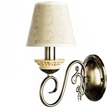 Бра Arte Lamp Ivory A9070AP-1AB, 1xE14x60W, бронза, бежевый, металл, пластик, текстиль