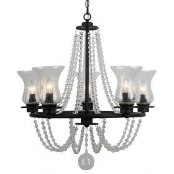 Arte Lamp Malia A6586LM-5BK, 5xE14x40W, черный, прозрачный, металл, стекло