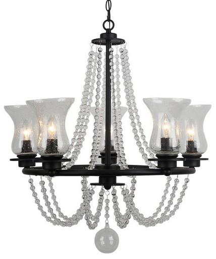 Arte Lamp Malia A6586LM-5BK, 5xE14x40W, черный, прозрачный, металл, стекло - фото 1