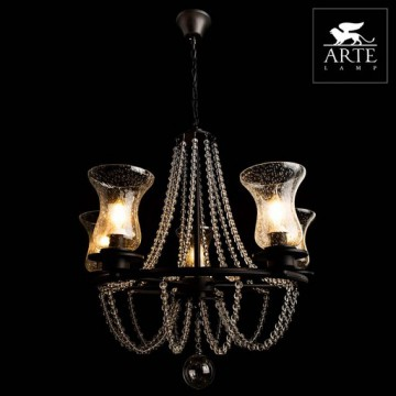 Arte Lamp Malia A6586LM-5BK, 5xE14x40W, черный, прозрачный, металл, стекло - миниатюра 2