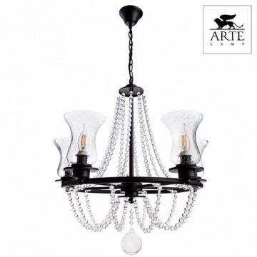 Arte Lamp Malia A6586LM-5BK, 5xE14x40W, черный, прозрачный, металл, стекло - миниатюра 5