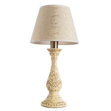 Настольная лампа Arte Lamp Ivory A9070LT-1AB, 1xE27x40W, бронза, бежевый, металл, пластик, текстиль - миниатюра 1