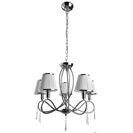 Подвесная люстра Arte Lamp Logico A1035LM-5CC, 5xE14x40W, хром, белый с хромом, прозрачный, металл, текстиль, стекло