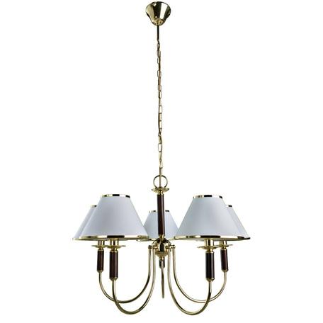Подвесная люстра Arte Lamp Cathrine A3545LM-5GO, 5xE14x60W, золото, венге, белый с золотом, металл, текстиль