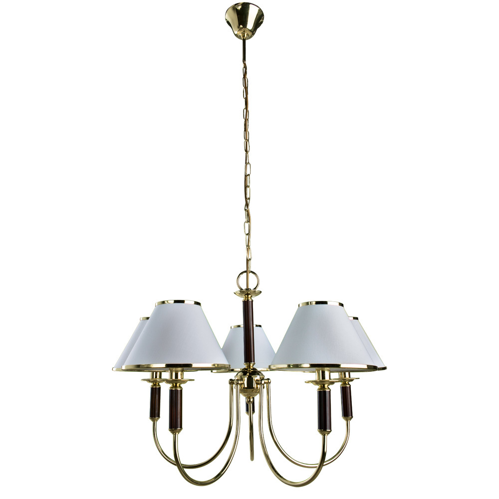 Подвесная люстра Arte Lamp Cathrine A3545LM-5GO, 5xE14x60W, золото, венге, белый, металл, текстиль - фото 1
