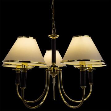 Подвесная люстра Arte Lamp Cathrine A3545LM-5GO, 5xE14x60W, золото, венге, белый, металл, текстиль - миниатюра 2
