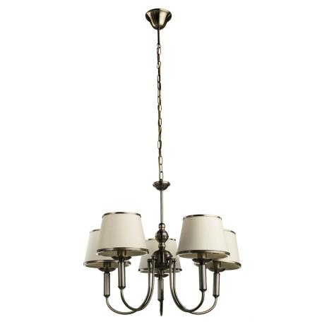 Подвесная люстра Arte Lamp Alice A3579LM-5AB, 5xE14x40W, бронза, бежевый, металл, текстиль