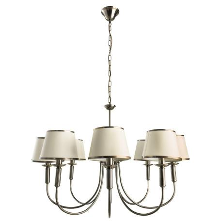 Подвесная люстра Arte Lamp Alice A3579LM-8AB, 8xE14x60W, бронза, бежевый, металл, текстиль