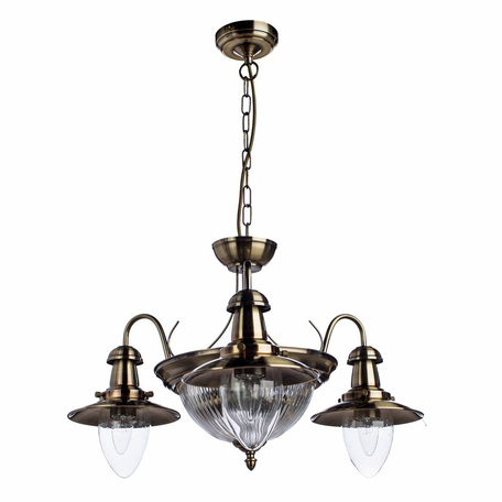 Подвесная люстра Arte Lamp Fisherman A5518LM-2-3AB, 5xE27x60W, бронза, прозрачный, металл, стекло