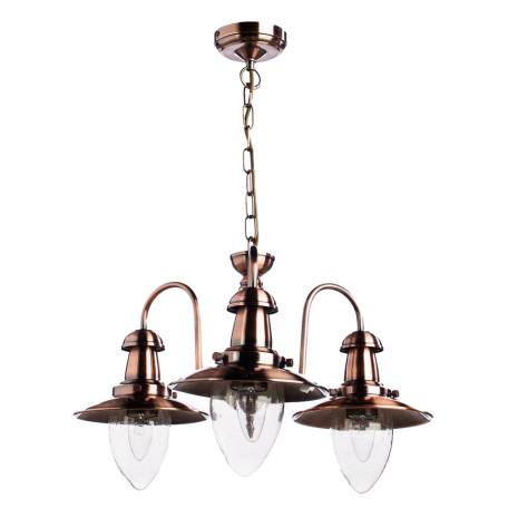 Подвесная люстра Arte Lamp Fisherman A5518LM-3RB, 3xE27x60W, медь, прозрачный, металл, стекло