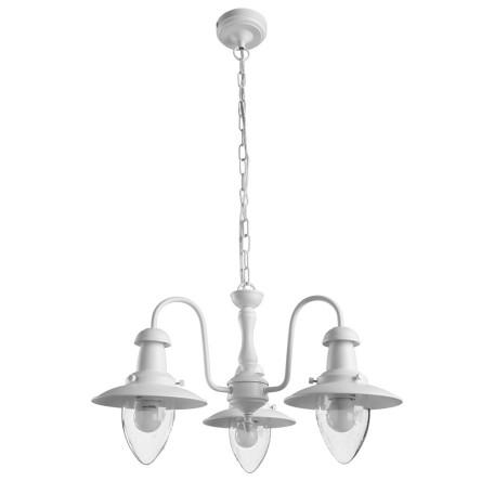 Подвесная люстра Arte Lamp Fisherman A5518LM-3WH, 3xE27x60W, белый, прозрачный, металл, стекло