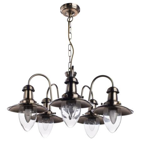 Подвесная люстра Arte Lamp Fisherman A5518LM-5AB, 5xE27x60W, бронза, прозрачный, металл, стекло