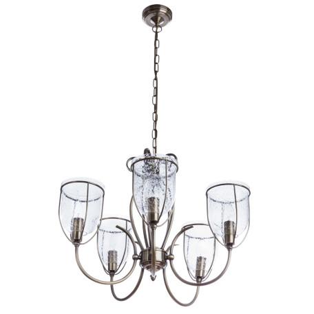 Подвесная люстра Arte Lamp Salvador A6351LM-5AB, 5xE14x60W, бронза, прозрачный, металл, ковка, металл со стеклом