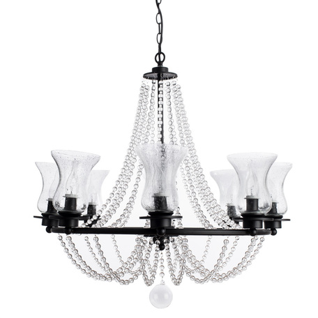 Подвесная люстра Arte Lamp Malia A6586LM-8BK, 8xE14x40W, черный, прозрачный, металл, стекло