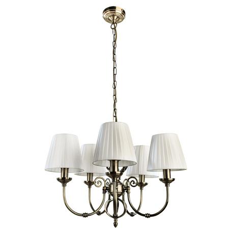 Подвесная люстра Arte Lamp Zanzibar A8390LM-5AB, 5xE14x40W, бронза, белый, металл, текстиль