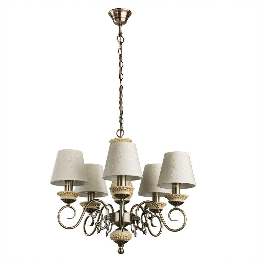Подвесная люстра Arte Lamp Ivory A9070LM-5AB, 5xE14x60W, бронза, бежевый, металл с пластиком, текстиль - фото 1