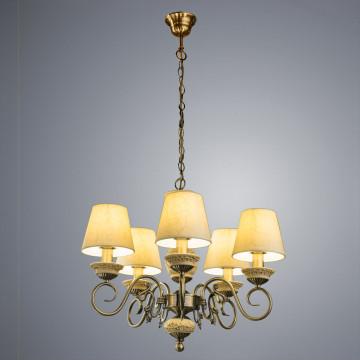 Подвесная люстра Arte Lamp Ivory A9070LM-5AB, 5xE14x60W, бронза, бежевый, металл с пластиком, текстиль - миниатюра 2
