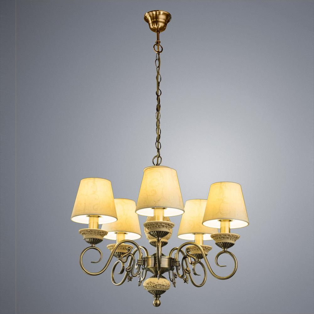 Подвесная люстра Arte Lamp Ivory A9070LM-5AB, 5xE14x60W, бронза, бежевый, металл с пластиком, текстиль - фото 2