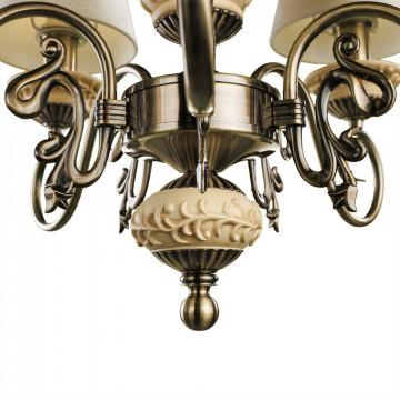 Подвесная люстра Arte Lamp Ivory A9070LM-5AB, 5xE14x60W, бронза, бежевый, металл с пластиком, текстиль - миниатюра 3