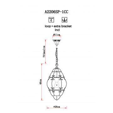 Схема с размерами Arte Lamp A2206SP-1CC