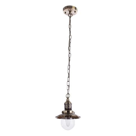 Подвесной светильник Arte Lamp Sailor A4524SP-1AB, 1xE27x60W, бронза, коричневый, прозрачный, металл, дерево, металл со стеклом