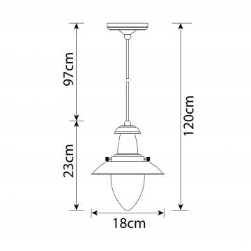 Схема с размерами Arte Lamp A5518SP-1RI