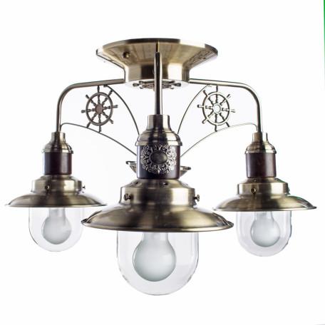 Потолочная люстра Arte Lamp Sailor A4524PL-3AB, 3xE27x60W, бронза, коричневый, прозрачный, металл, дерево, металл со стеклом