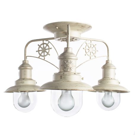 Потолочная люстра Arte Lamp Sailor A4524PL-3WG, 3xE27x60W, белый с золотой патиной, прозрачный, металл, стекло