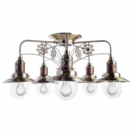 Потолочная люстра Arte Lamp Sailor A4524PL-5AB, 5xE27x60W, бронза, коричневый, прозрачный, металл, дерево, металл со стеклом