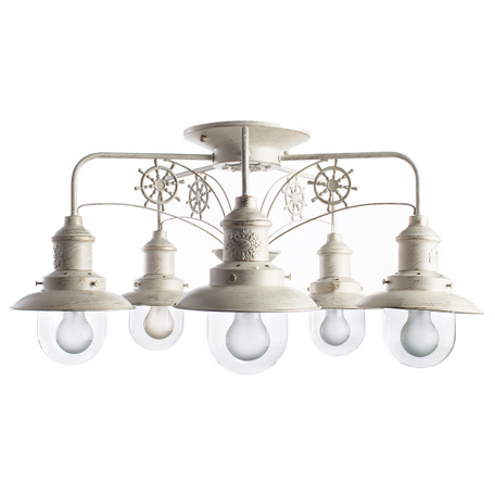 Потолочная люстра Arte Lamp Sailor A4524PL-5WG, 5xE27x60W, белый с золотой патиной, прозрачный, металл, металл со стеклом