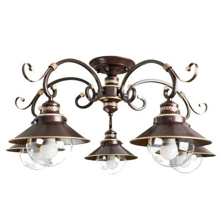 Потолочная люстра Arte Lamp Grazioso A4577PL-5CK, 5xE27x60W, коричневый, матовое золото, прозрачный, металл, стекло