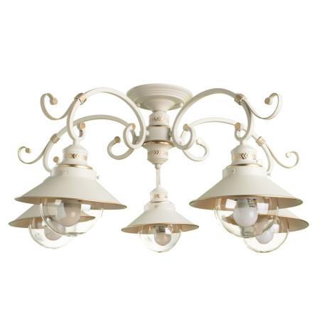 Потолочная люстра Arte Lamp Grazioso A4577PL-5WG, 5xE27x60W, белый с золотой патиной, белый, прозрачный, металл, металл со стеклом