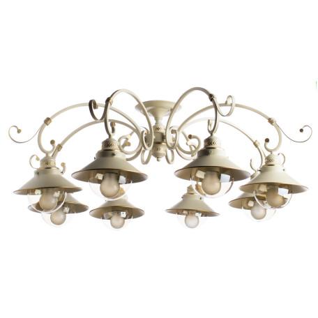 Потолочная люстра Arte Lamp Grazioso A4577PL-8WG, 8xE27x60W, белый с золотой патиной, белый, прозрачный, металл, металл со стеклом