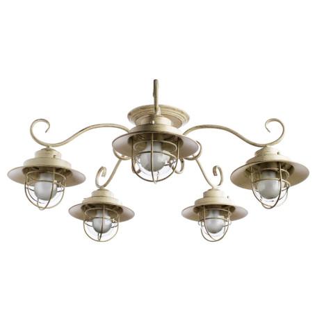 Потолочная люстра Arte Lamp Lanterna A4579PL-5WG, 5xE27x60W, белый с золотой патиной, прозрачный, металл, стекло