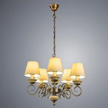 Подвесная люстра Arte Lamp Ivory A9070LM-5AB, 5xE14x60W, бронза, бежевый, металл, пластик, текстиль - миниатюра 1