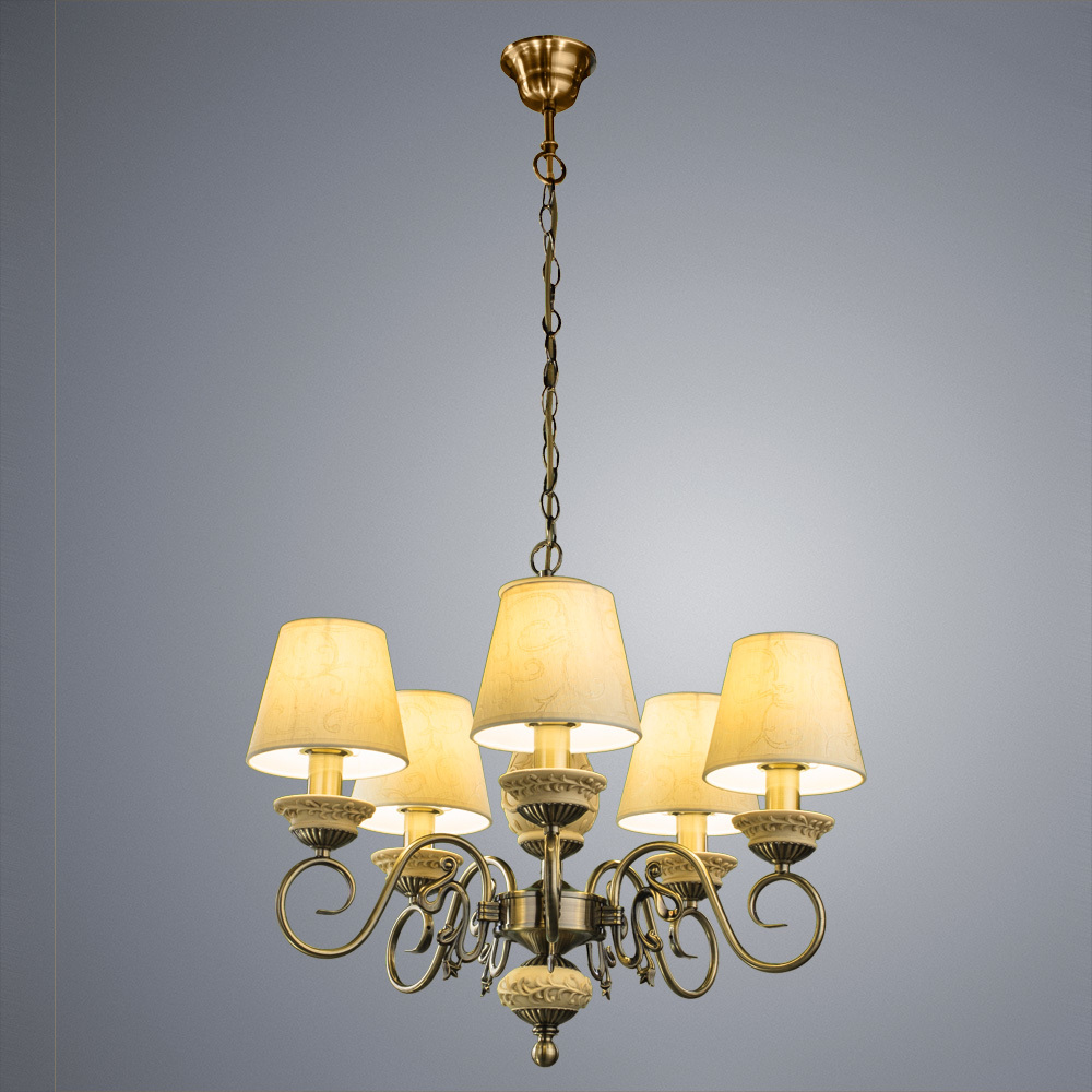 Подвесная люстра Arte Lamp Ivory A9070LM-5AB, 5xE14x60W, бронза, бежевый, металл, пластик, текстиль - фото 1