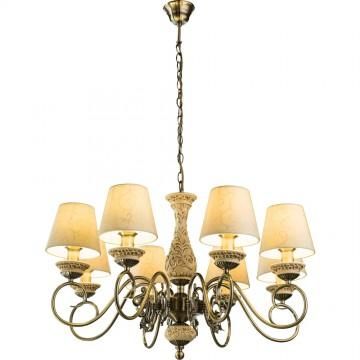 Подвесная люстра Arte Lamp Ivory A9070LM-8AB, 8xE14x60W, бронза, бежевый, металл, пластик, текстиль